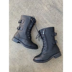 Top Moda Combat Lace Up Military Boots